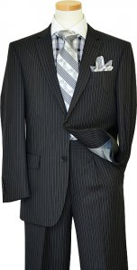 Bertolini Black With Silver Grey Pinstripes Wool & Silk Blend Super 140'S Suit 68804