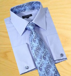 Tessori Sky Blue Shadow Stripes Spread Collar Shirt With / Tie / Hanky Set With Free Cufflinks SH-306