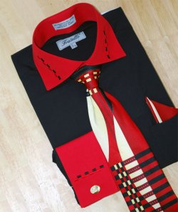 Fratello Black/Red w/ Dash Design Shirt/Tie/Hanky Set DS3721P2