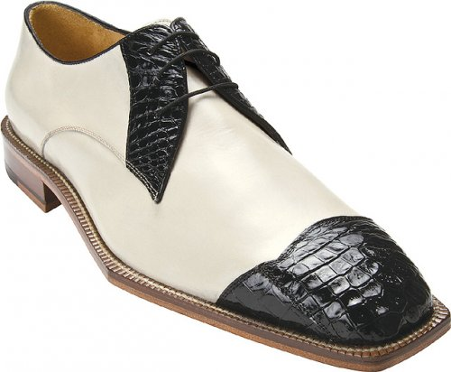 "Belvedere ""Fano"" Black / Cream Genuine Crocodile and Calf Shoes"