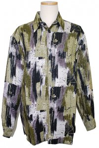 Pronti Olive/MultiColor Rayon Blend Shirt S5791