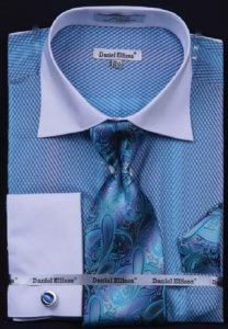 Daniel Ellissa Turquoise / Black Two Tone Stripes Design Shirt / Tie / Hanky Set With Free Cufflinks DS3770P2