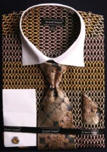 Avanti Uomo Black / Gold / Pink Pointed Two Tone Design 100% Cotton Shirt / Tie / Hanky Set With Free Cufflinks DN61M.