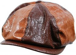 Stacy Adams Brown / Cognac Alligator Print Faux Leather Spitfire Big Apple Cap