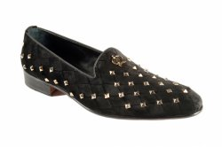 Mauri 3063 Black Genuine Velvet / Studded Slip-Ons.