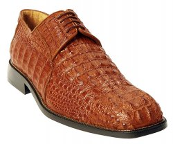 "Belvedere ""Coppola"" Brandy All-Over Genuine Hornback Crocodile Shoes 725"