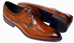 Carrucci Cognac Burnished Calfskin Leather Medallion Toe Derby Shoes KS479-04