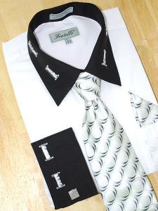 Fratello White With Black/ White Laced Spread Collar And French Cuffs Shirt/Tie/Hanky Set FRV4105P2