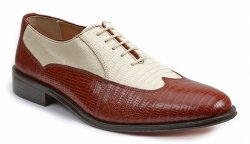 "Giorgio Brutini ""Melby"" Brown / Bone Wing Tip Lizard Print Shoes 21007"