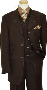 "Tayion ""T-Fusion"" Collection Brown With Taupe Hand-Pick Stitching Vested Suit 3614"