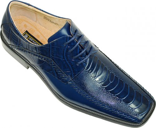"Stacy Adams ""Fulbright"" 24549 Royal Blue Alligator / Ostrich Print Shoes"
