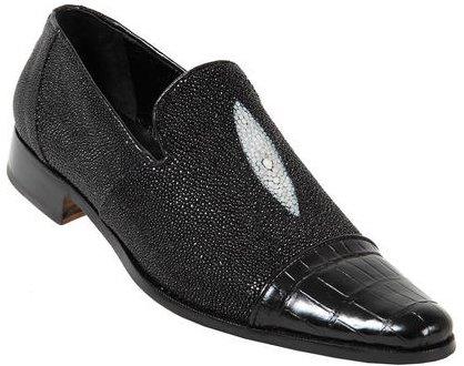 Mauri 4182 Black Genuine Alligator Stingray Loafer Shoes