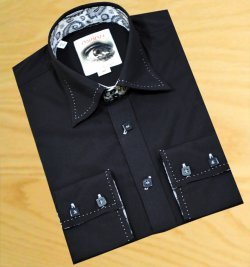 Insomnia Black With White Hand-Pick Stitching 100% Cotton Dress Shirt MZPT-101