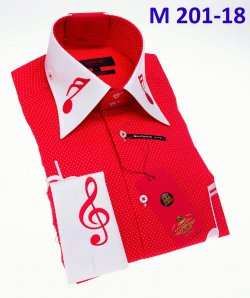 Axxess Red / White Polka Dot Music Note Embroidery Cotton Modern Fit Dress Shirt With French Cuff M201-18.