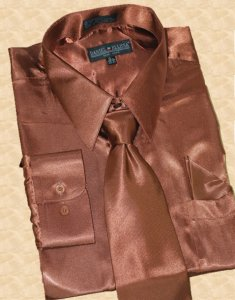 Daniel Ellissa Satin Brown Dress Shirt/Tie/Hanky Set