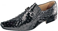 "Mauri ""Capri"" 0215 Black All-Over Genuine Ostrich Loafer Shoes With Bracelet On Front"