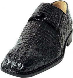 "Belvedere ""Coppola"" Black All-Over Genuine Hornback Crocodile Head Shoes 725"