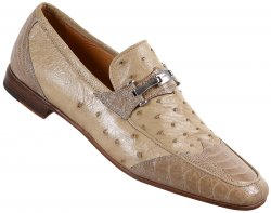 "Mauri ""Paloma"" 2020 Oyster Genuine Ostrich Leg / Ostrich Loafer Shoes."
