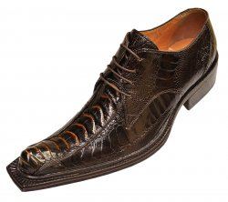"Mauri ""Cactus"" 42635 Brown/Gold Genuine All-Over Ostrich Shoes"