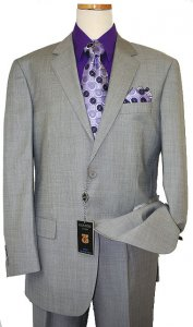 Gianni Uomo Silver Grey/Black Super 150's Wool Suit