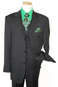 Extrema by Zanetti Black Shadow Pinstripes Super 120's Wool Vested Suit AN18819