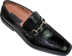 Fratelli Black Ostrich/Lizard Print With Bracelet Loafer Shoes 2281-01
