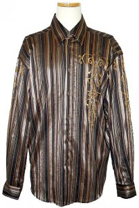 Pronti Brown/Copper/Mustard Embroidery With Striped Lurex Rayon Blend Shirt S5737