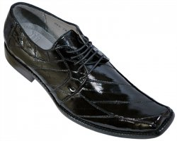 Los Altos Black All-Over Genuine Eel Shoes 1ZV060805