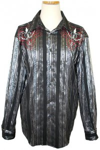 Pronti Black/Grey/Red Embroidered Striped Cotton Blend Shirt S5735