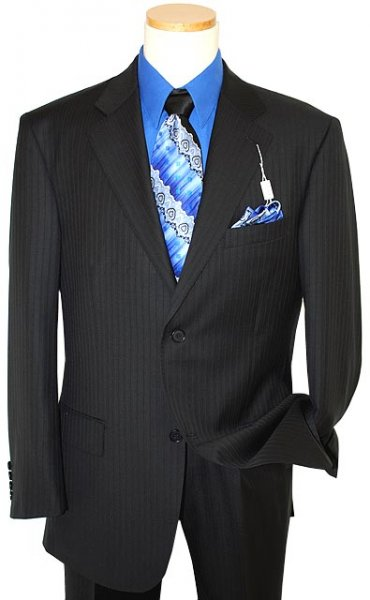 Giorgio Sanetti Black/Royal Blue Pinstripes Super 150's 100% Wool Suit