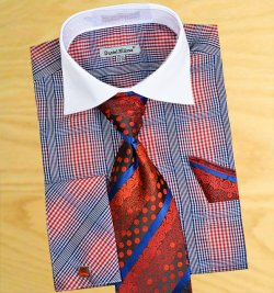 Daniel Ellissa Red / Blue / White Checker Pattern Two Tone Shirt / Tie / Hanky Set With Free Cufflinks DS3766P2