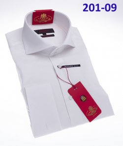 Axxess White Cotton Modern Fit Dress Shirt With French Cuff 201-09.