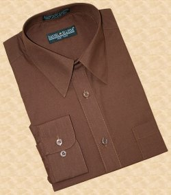 Daniel Ellissa Solid Chocolate Dark Brown Cotton Blend Dress Shirt With Convertible Cuffs DS3001