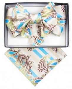 Vittorio Vico Beige / Brown / Turquoise Paisley Double Layered Silk Bow Tie / Hanky Set XL53