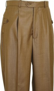 Pronti Taupe With Gold Lurex Shark Skin Wide Leg Slacks P59221