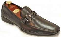 Fiesso Black Genuine Leather Loafer Shoes With Bracelet FI1074