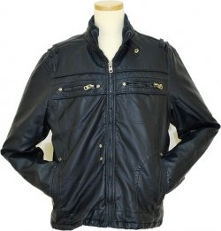 Black Diamond Navy Lambskin Leather Jacket P09622