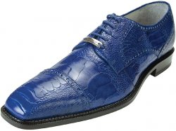 "Belvedere ""Lucca"" Royal Blue All-Over Genuine Ostrich Shoes"