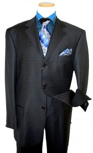 Extrema by Zanetti Black With White/Royal Blue Microdiamonds Design Super 150's Wool Suit