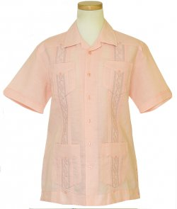 Successo Pink Embroidered Safari Short Sleeve Pure Linen Shirt S54324