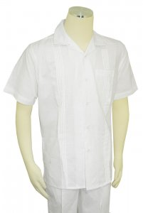 Successos White Woven / Pleated Design Linen / Cotton Short Sleeve Outfit SP3351