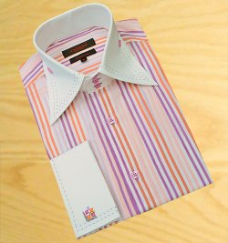 Axxess White / Violet / Apricot Stripes With Violet Double Handpick Stitching 100% Cotton Dress Shirt 07-21