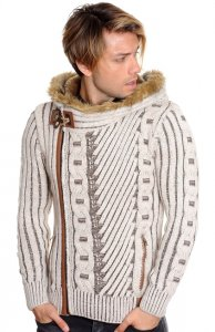LCR Beige / Brown Zip-Up Faux Fur Lined Modern Fit Wool Blend Hooded Sweater 5555