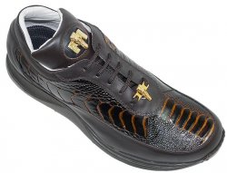 Mauri 8900 Brown/Cognac Genuine Ostrich And Nappa Leather Casual Sneakers With Gold Mauri Alligator Head