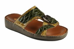 Mauri 5052 Green / Khaki Genuine Crocodile Flanks Platform Sandals.