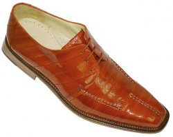 "Belvedere ""Enso"" Burnt Orange All-Over Genuine Eel Shoes"