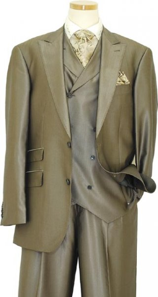 Extrema Solid Taupe Super 120's Shark Skin Vested Suit ZL82033/254