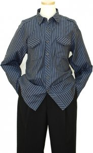 Manzini Slate Blue With Black Stripes Design Long Sleeves 100% Cotton Shirt