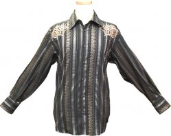 Pronti Black With Tan Embroidered Front / Back Cotton Blend Shirt S5799