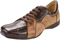 "Belvedere ""Dino J05"" Brown / Cream Genuine Crocodile / Ostrich Sneakers"